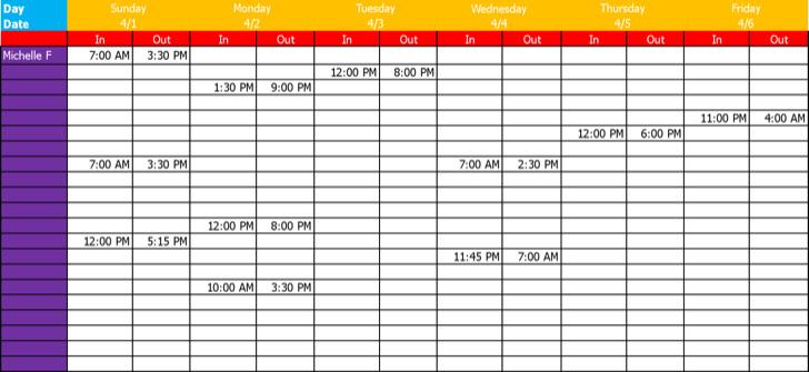 Work Schedule Template 1 1