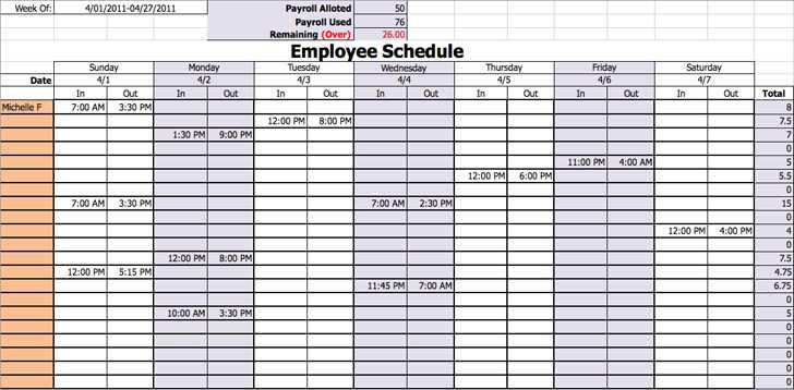 Work Schedule Template 1