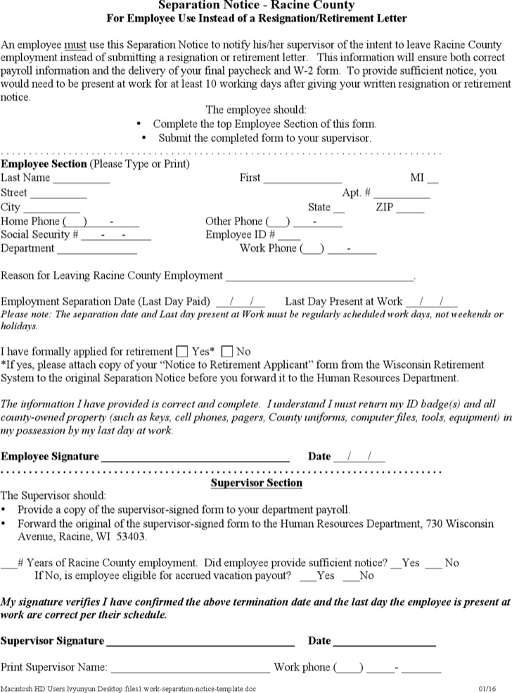 Work Separation Notice Template