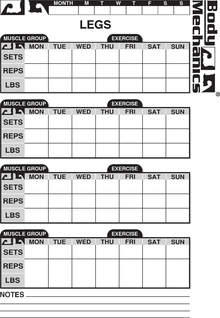 5  workout chart free download
