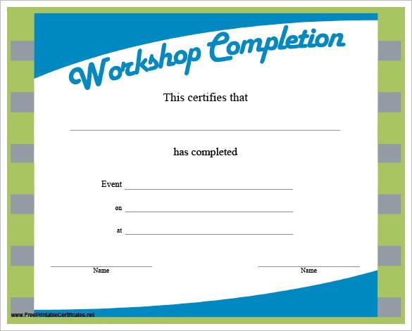 Workshop Completion Certificate