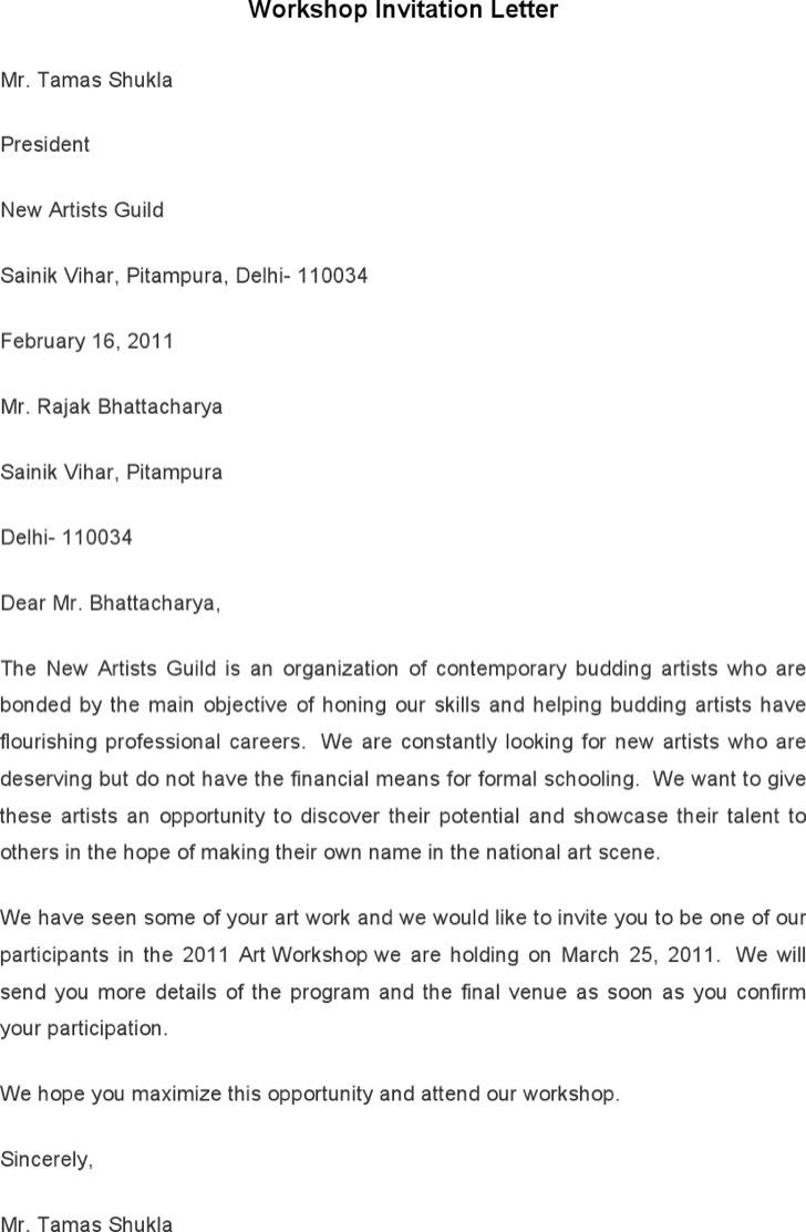 Workshop Invitation Letter Template