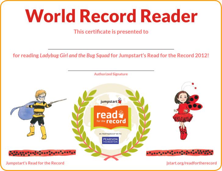 World Record Reader Certificate