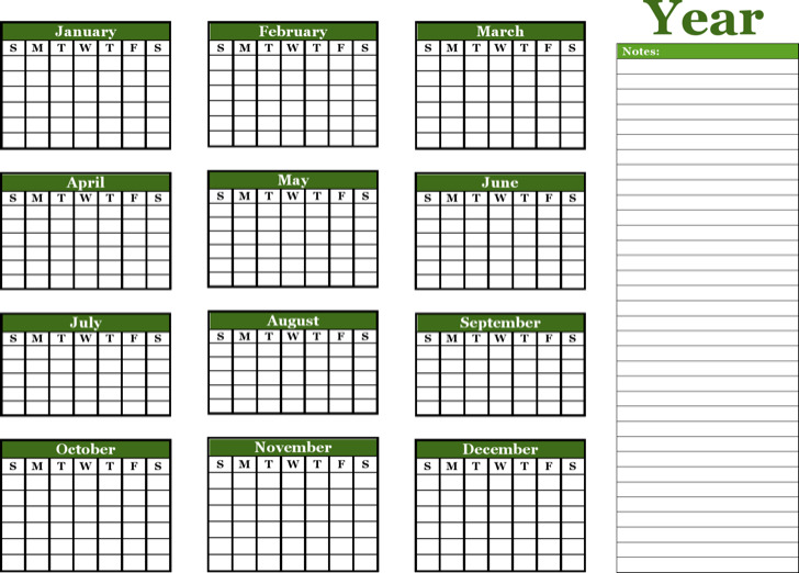Year Calendar Notes Landscape 1