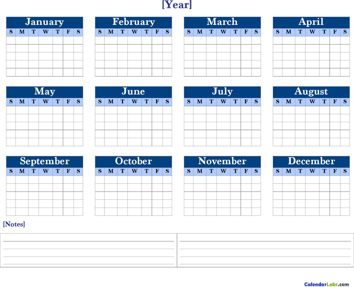 Yearly Blank Calendars
