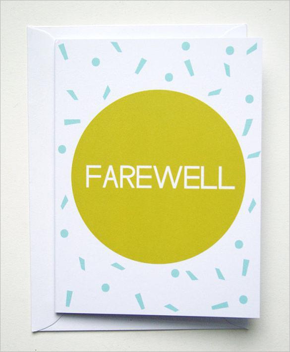 Yellow Confetti Farewell Greeting Card