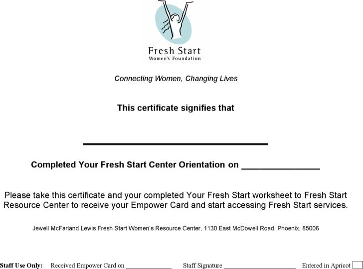 Your Fresh Start Online Certificate Template