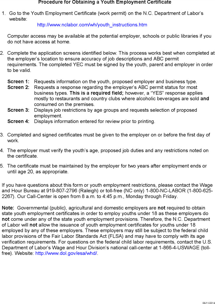 Youth Employment Certificate Online